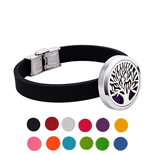 - Tree of Life Aromatherapy Essential Oil Diffuser Bracelet Stainless Steel Locket Bangle Silicone Band Adjustable 12 Refill Pads