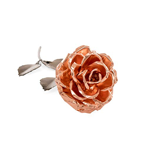 - Personalized Gift Hand-Forged Copper Metal Rose - 7th Anniversary Gift