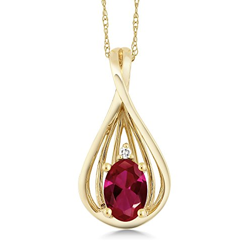 Gem Stone King 0.50 Ct Oval Red Created Ruby and Diamond 10K Yellow Gold Teardrop Pendant With Chain