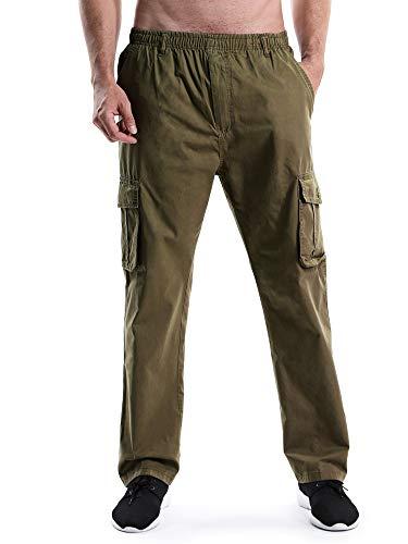 Mesinsefra Men's Elastic Waist Lightweight Workwear Pull On Casual Cargo Pants Tan Tag XL-US ()