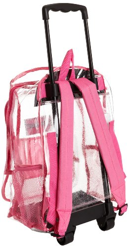 Amazon.com | Trailmaker Big Girls' Rolling Glitter Backpack, Clear ...