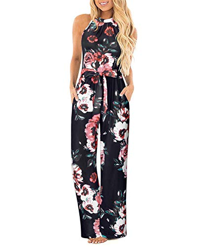 II ININ Women's Halter Neck Sleeveless Floral Long Jumpsuit Loose Belted Pants with Pocket(Floral05,S) ()