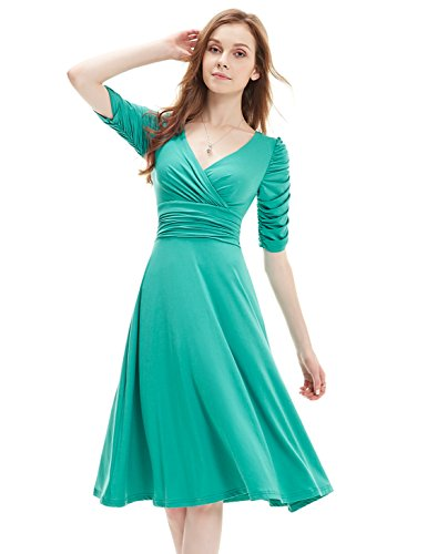 Ever-Pretty Womens Empire Waist V Neck Short Cocktail Party Dress 10 US Turquoise by Ever-Pretty