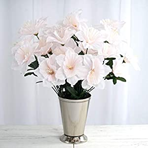 Tableclothsfactory 72 Artificial Daffodil Flowers for DIY Wedding Bouquets Centerpieces Party Home Decorations - 12 Bushes - Blush 113