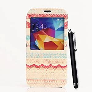 Exquisite Stripe Pattern PU Full Body Case with Stand and A Stylus Pen for Samsung Galaxy S5 I9600