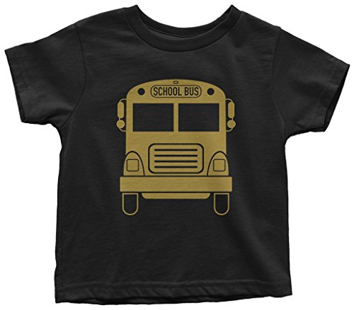 Threadrock Kids Gold School Bus Toddler T-Shirt 3T - T-shirt Black Bus