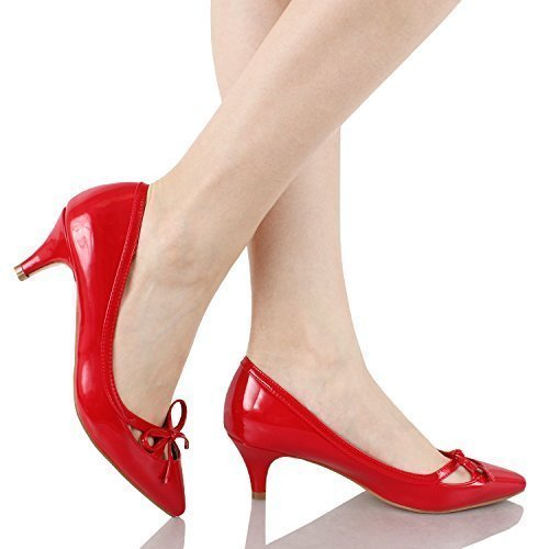 Guilty Shoes Womens Deco Embellished Classic Elegant Closed Pointy Toe Low Kitten Heel Dress Pump Shoes Heeled-Sandals, 17-Red-Patent, - Red Pump The