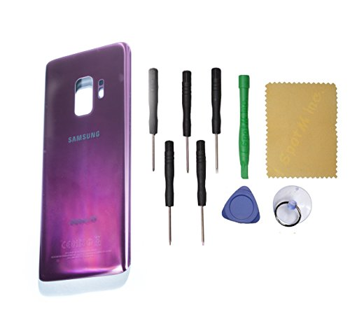 OEM Back Glass Cover Battery Door Replacement For Samsung Galaxy S9 SM-G960 + Tools (Purple)