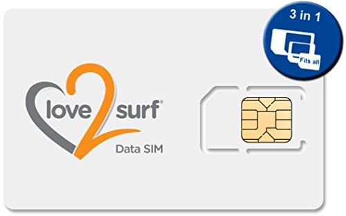 Love2surf Tarjeta Triple SIM Internacional de Datos 3G SIM para Viajes •• WORLDWIDE (Zone 1, 2 & 3) •• 34 EU Countries, ASIA, USA, CARIBBEAN, ...