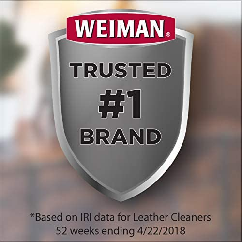 Weiman Leather Cleaner and Polish for Furniture and Car with Microfiber Cloth - Non Toxic Clean and Condition Car Seats, Shoes, Couches and More - 22 Fluid Ounces