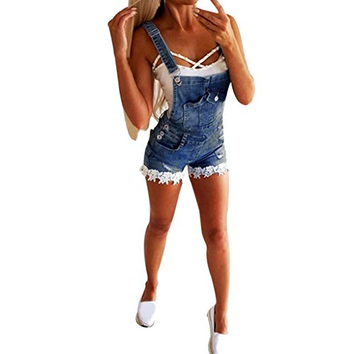 JustWin Women's Denim Overalls Straps Lace Sleeveless Clothing Camisole Overall Shourt Pants