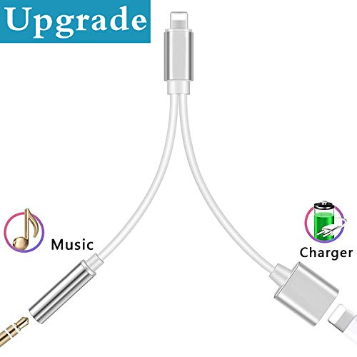 Headphone Jack Adapter for iPhone Earphone Splitter Cable Aux Audio Car Charger Adaptor to Music Headphone Compatible with iPhone 7/Plus X Xs Dongle 2 in 1 Converter Support for iOS 11 or Higher