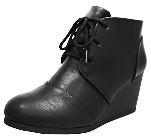 Black Leather Wedge Heel (Cambridge Select Women's Lace Up Wedge Heel Ankle Bootie (10 B(M) US, Black PU))