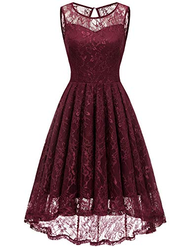 Gardenwed Women's Homecoming Dress Vintage Lace Bridesmaid Dress High Low Cocktail Formal Swing Dress-Burgundy-XS