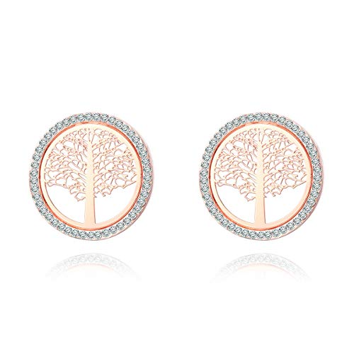 Tree of Life Stud Earrings for Women, Rose Gold and Silver Earring Stud Hypoallergenic Earring with Shining Crystal