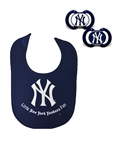 Official MLB Fan Shop Authentic Baby Pacifier and Bib Set. Start The Little Ones Out Early in Joining The Number One Major League Baseball Fans (New York Yankees)