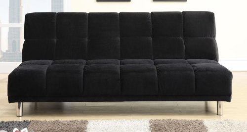 Plush Black Microfiber Adjustable Sofa by Poundex