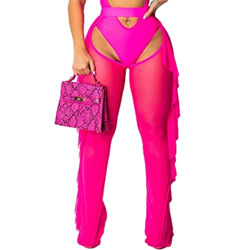 RUEWEY Women See Throug Mesh Flare Cover up Pants Swimsuit Bikini Bottom Cover up Elastic Waist Wide Leg Palazzo Trousers (L, Rose Hollow)