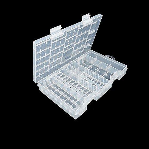 Dealglad® Útil rack transparente Batería Caso titular caja de almacenamiento de plástico duro contenedor de...