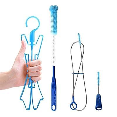 TAGVO Hydration Bladder Tube Brush Cleaning Kit for Universal Bladders, 4 in 1 Cleaner Set-Long Brush for Hose, Small Brush for Bite Valve, Big Brush for Bladder & Collapsible Hanger for Drying