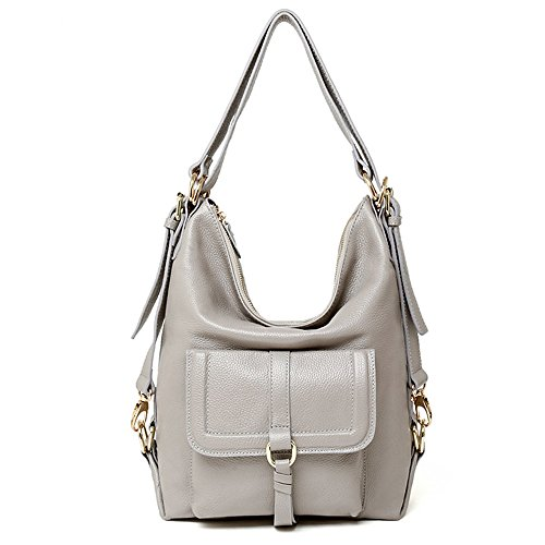 SEALINF Womens Top Handle Leather Shoulder Bag Convertible Backpack with Front Flap (ligh grey) -