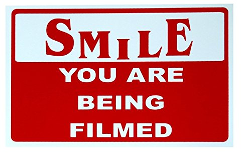 1-Pc Acceptable Unique Smile You Are Being Filmed Sign CCTV Security Business Property 24Hr Watched Home Premises Hour Yard Signs Protect Under Cameras Protected Door House Trespassing Size 7