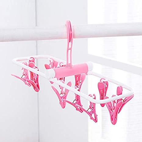 Bras Falytemow Clip and Drip Hanger Folding Portable Travel Socks Hanger Underwear Hanger with 2 x 12 Clothespins Plastic Laundry Drying Hanger for Drying Towels Baby Clothes Pink + Green