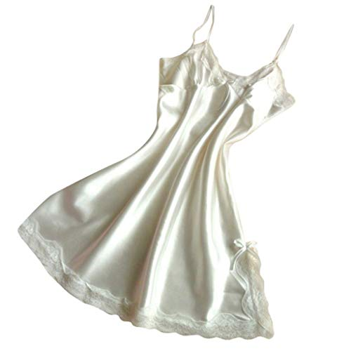 Female Sleepwear Sexy Satin Womens Silk Nightgowns Lace Nightwear V-Neck Spaghetti Straps Night Dress Women