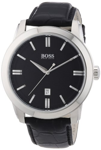 Hugo Boss Black Dial Black Leather Mens Watch 1512767