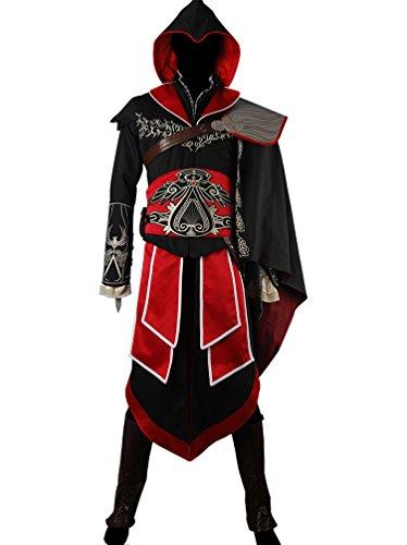 Men's AC Brotherhood Cosplay Ezio Black Outfit Hoodie Costume