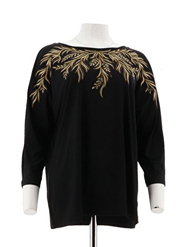 Bob Mackie 3/4 Dolman SLV Embroidered Knit Top A271128, Black, (Bob Mackie Embroidered Blouse)