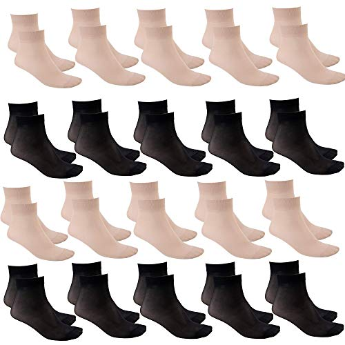 Syleia 20 Pairs Sheer Ankle High Socks One size (10 black pairs & 10 beige pairs)