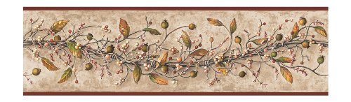 York Wallcoverings HK4669BDSMP Best Of Country Caroline Vine  Wallpaper Memo Sample, 8-Inch x 10-Inch (Strip Vine Accent)