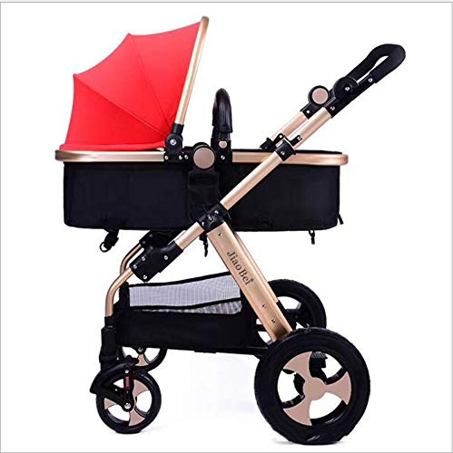 MQC Four-Wheeled Baby Folding Stroller Seat High Landscape Baby Newborn Child Hand Push Umbrella Car Two-Way,Red
