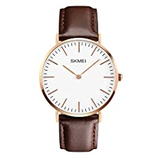 CakCity Men's Casual Classic Stainless Steel Quartz Analog Wrist Business Watch with 40mm Case, Replaceable Brown Leather Band and Thin Dial