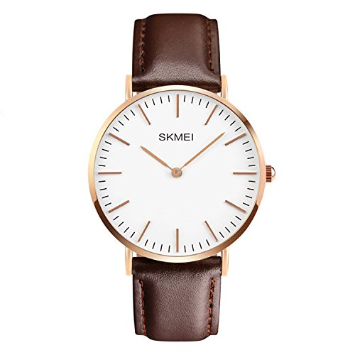 tch Casual Classic Stainless Steel Quartz Wrist Business Analog Watch with 40mm Case, Replaceable Brown Leather Band and Thin Dial ()