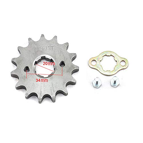 DSparts 15T Teeth 20mm 428 Chain Front Sprocket Cog Fit for 110cc 125cc 140cc Motorcycle ATV Dirt Pit Bike Thumpstar