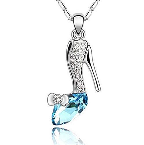 - New Women Blue Crystal Rhinestone High Heels Silver Chain Pendant Necklace пјЃпјЃпјЃ