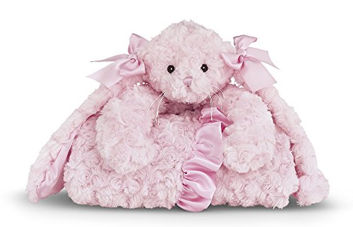 (Bearington Baby Cottontail Cuddle Me Sleeper, Pink Bunny Large Size Security Blanket, 28.5