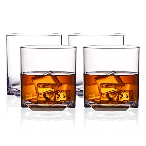 MICHLEY Rock Style Old Fashioned Whiskey Glasses 9 OZ,100% Tritan Plastic Short Glasses For Camping/Party,Set of 4