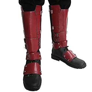 Dead Cosplay Shoes Deluxe PU Adult Side Zipper Covers Knee High Boots 46