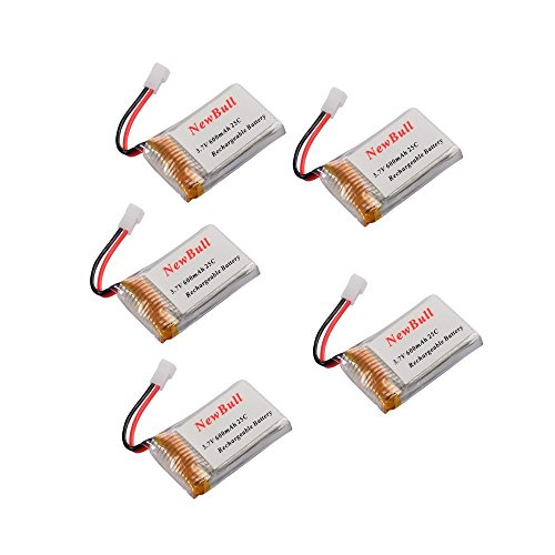Price comparison product image NewBull 5pcs of 3.7V 600mAh LiPO Battery for Syma X5 X5C X5C-1 2.4G 4CH RC QuadCopter