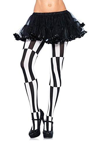 Leg Avenue Women's Plus-Size Optical Illusion Pantyhose, Black/White, (Avenue Halloween Costumes)