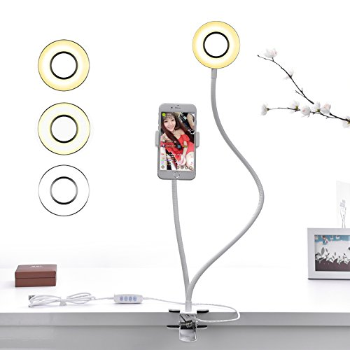 LKARM Cell Phone Holder with Selfie Ring Light for Live Stream, Flexible Long Arms Lazy Bracket Clip Desk Lamp LED Camera Light for Bedroom, Office, Kitchen, Bathroom by LKARM