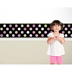 Candy Dots Border Color: Black by 4 Walls