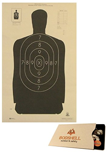 B-29 Paper Shooting Target Bulk Pack with RFID Blocking Credit Card Sleeve - Official Police Silhouette 14