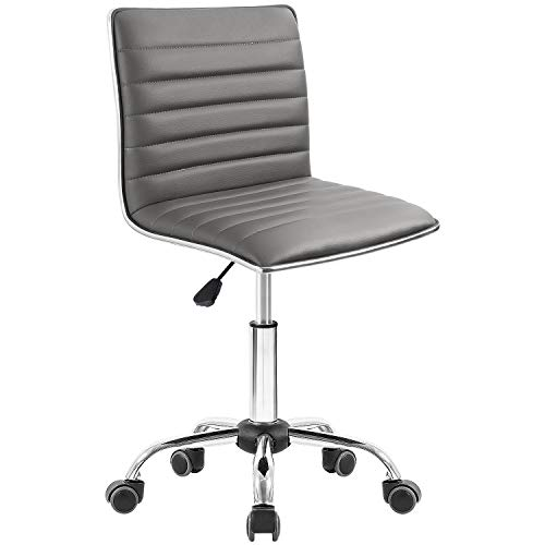 Homall Task Chair Desk Chair, Mid Back Armless Vanity Chair Swivel Office Rolling Leather Computer Chairs Ribbed Adjustable Conference Chair (Gray)