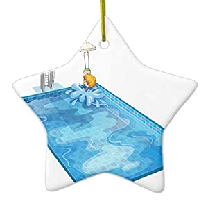 star sharp christmas ornaments a boy in a swimming pool ceramic ornament