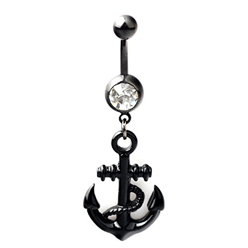 BODYA14G Black IP Stainless Steel Crystal Anchor Dangle Barbell Navel Belly Ring Bar + Belly Retainer