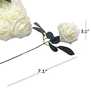 Lmeison Artificial Flower Rose 50pcs Ivory Real Looking Artificial Roses w/Stem for Bridal Wedding Bouquets Centerpieces Baby Shower DIY Party Home Decor, Ivory 2